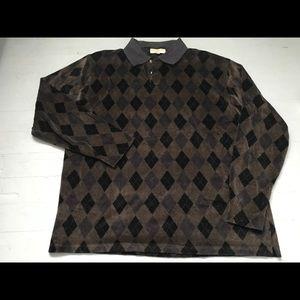 Vintage men's velour plaid long sleeve shirt